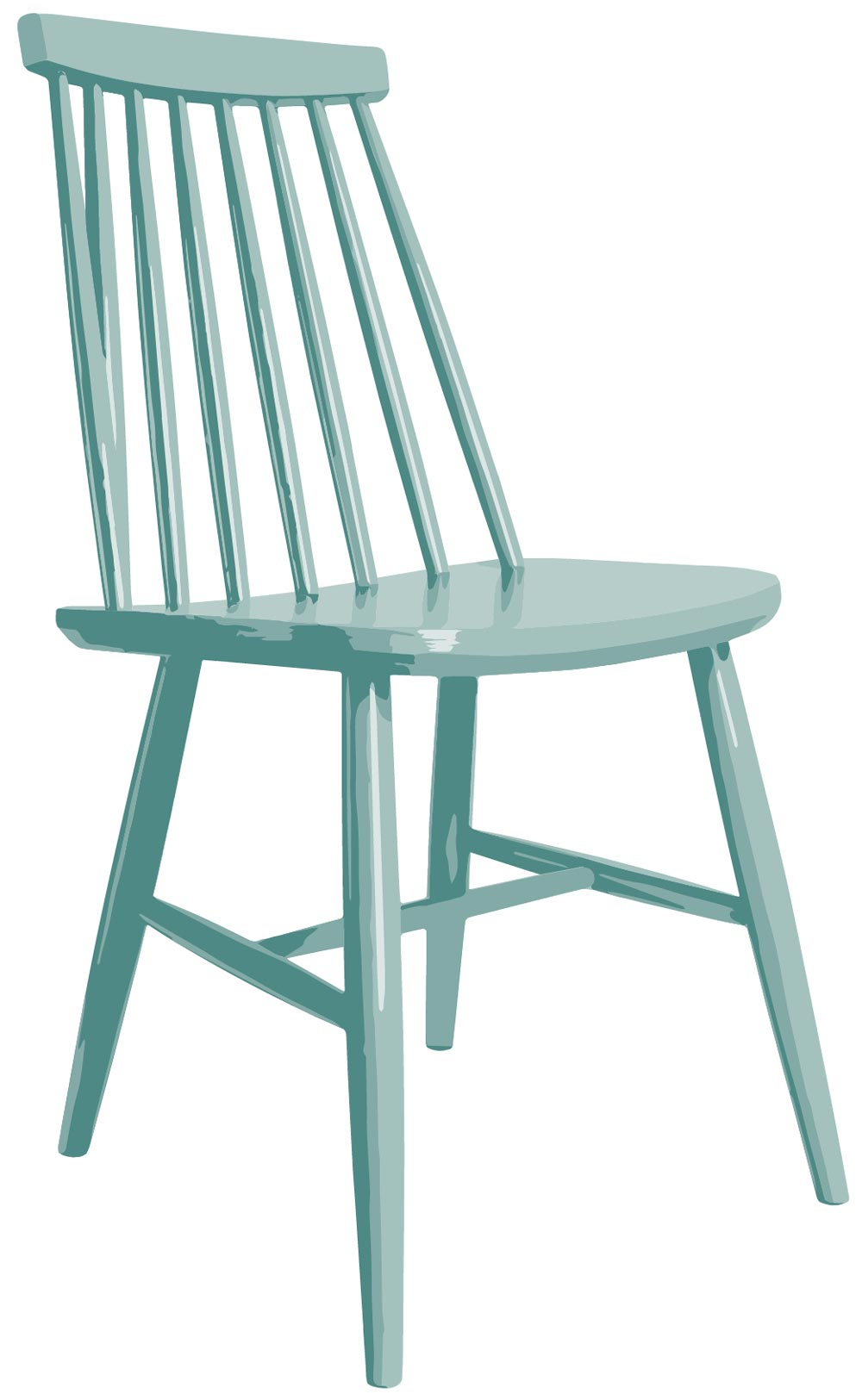 Mid Century Modern Chair simplified to 4 colours