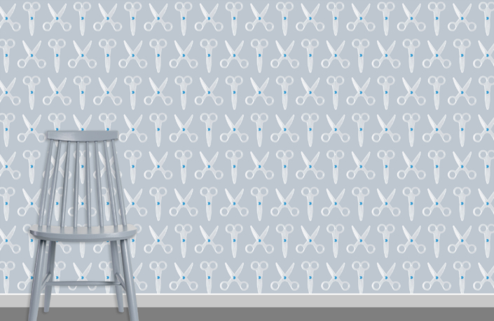 Scissors Pattern Design E 31 X 11 plus chair