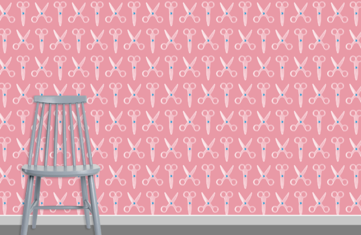 Scissors Pattern Design E 31 X 16 plus chair