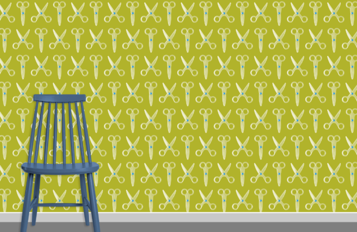 Scissors Pattern Design E 31 X 17 plus chair