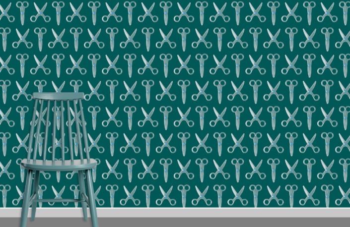 Scissors Pattern Design E 31 X 19 plus chair