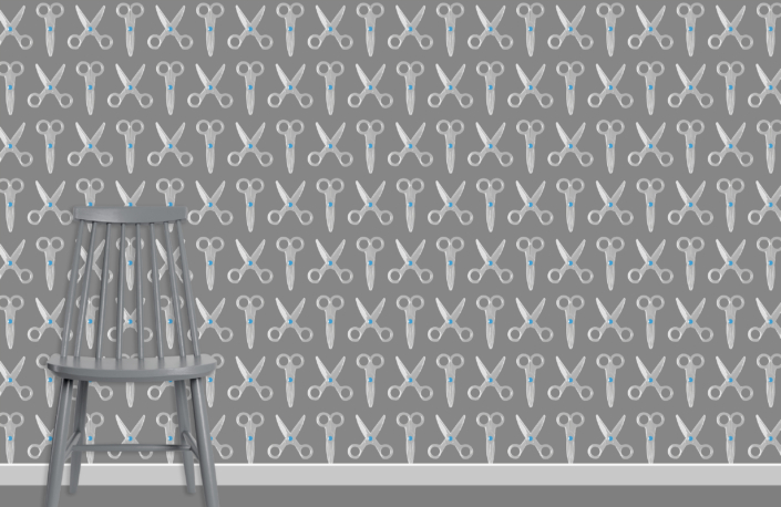 Scissors Pattern Design E 31 X 20 plus chair