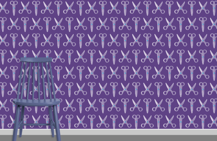Scissors Pattern Design E 31 X 22 plus chair