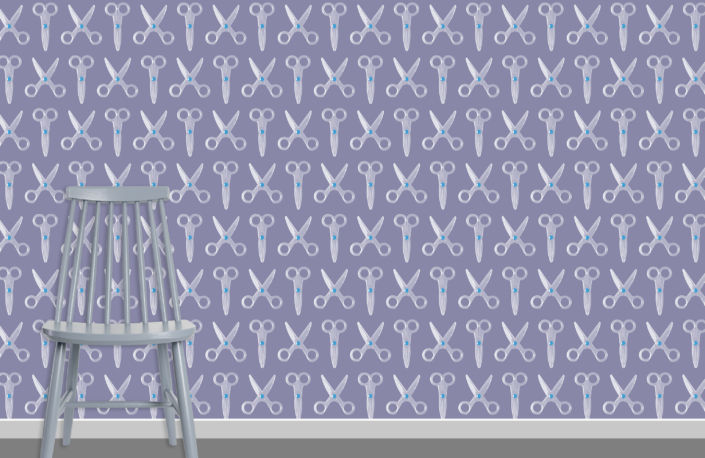 Scissors Pattern Design E 31 X 23 plus chair