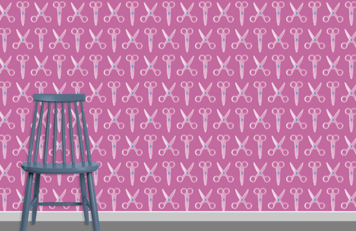 Scissors Pattern Design E 31 X 32 plus chair