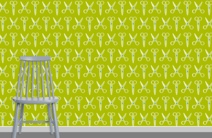 Scissors Pattern Design E 31 X 35 plus chair