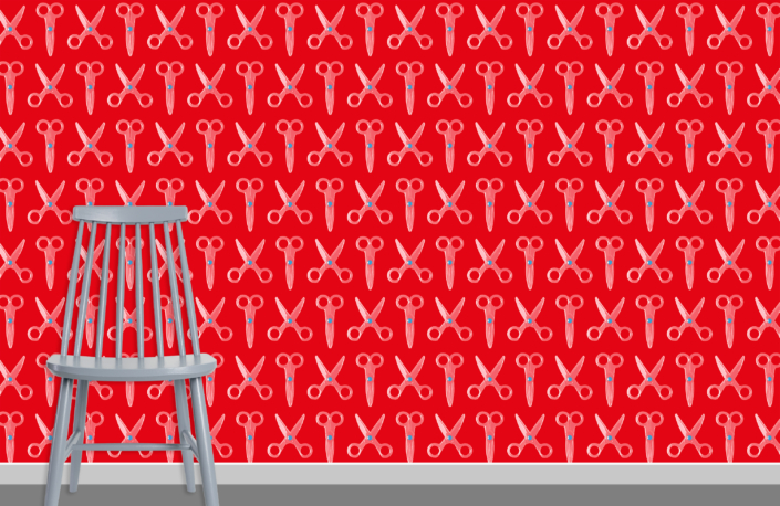 Scissors Pattern Design E 31 X 36 plus chair