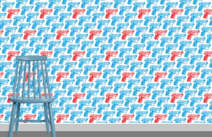 Water Pistols Pattern Design D cyan red 0 plus chair