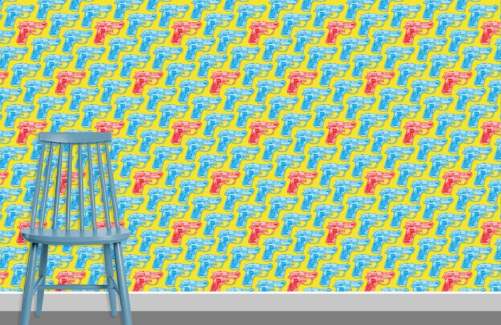 Water Pistols Pattern Design D cyan red 10 plus chair