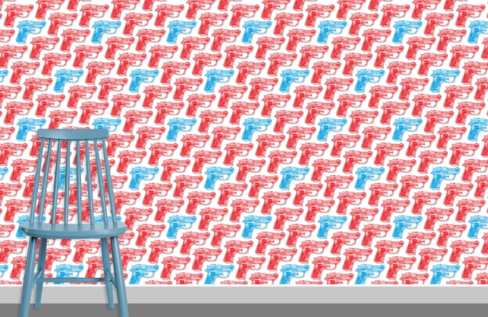 Water Pistols Pattern Design D red cyan 0 plus chair