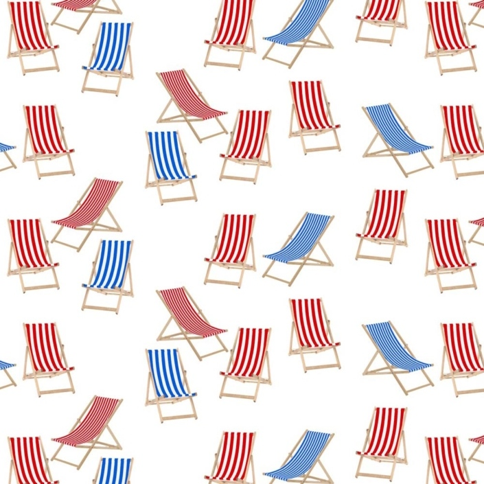 Deck Chairs Pattern Development J – both red and blue deckchairs - changing the background to white makes it more useful for different applications.