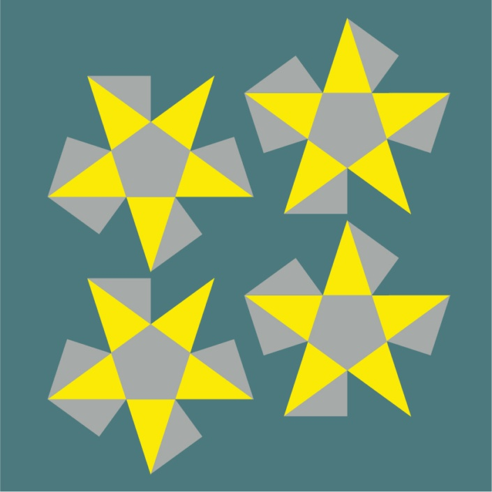 Flattened Stellated Pyramids, sides are coloured yellow