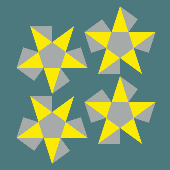 Flattened Stellated Pyramids, sides are coloured yellow_just the cutout area