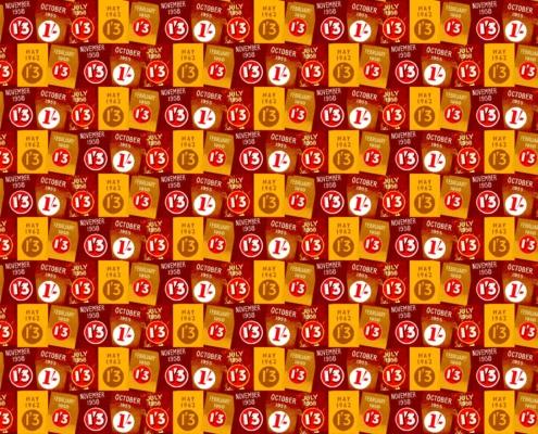 Old Price Pattern Design 25 plus pantone 123 vivid