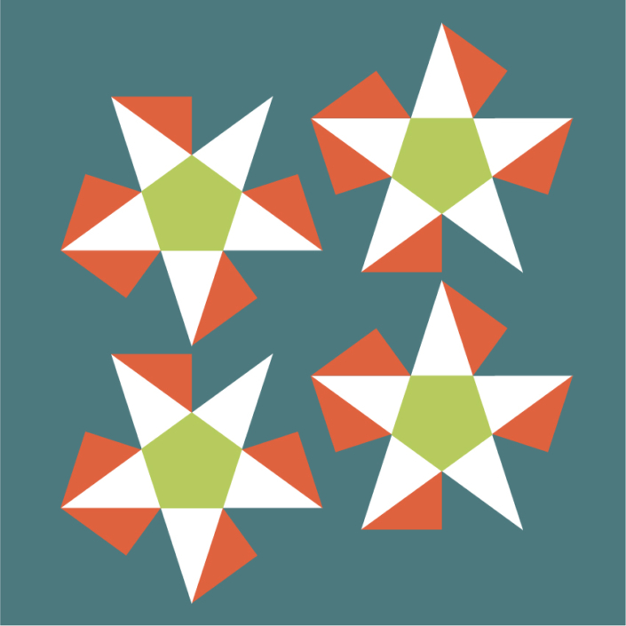 Splash as flattened five-sided pyramid, flaps are shown in orange
