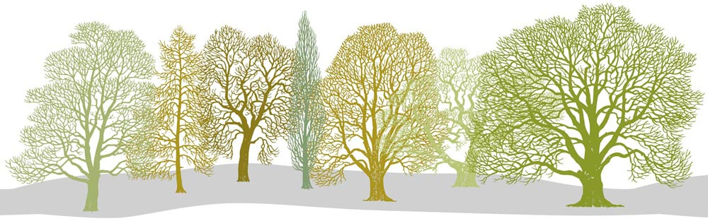 Trees Pattern Design with ground under trees